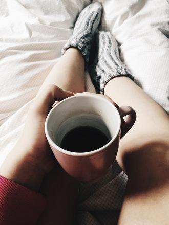 morning coffee bed socks